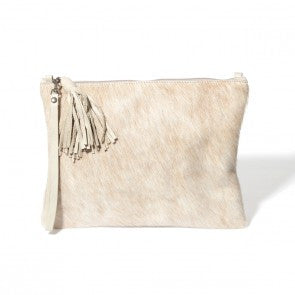 Vash Mickey Leather  Silver Fur Clutch