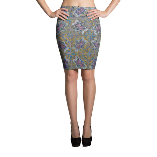 Aubusson Pencil Skirt - KaliKut apparel