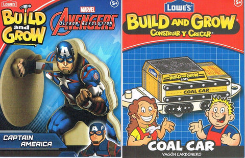 Lowes Build and Grow Lot of 2 Captain America Coal Car Wood Kit