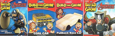 Lowes Build and Grow Lot of 4 Captain America Coal Car Thor Race Car Wood Kit