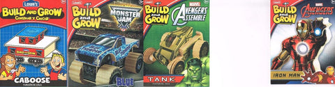 Lowes Build and Grow Lot of 4 Blue Thunder Caboose tank Iron Man Wood Kit