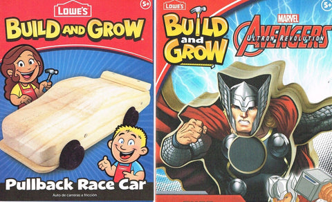 Lowes Build and Grow Lot of 2 Pullback Race Car Thor Wood Kit