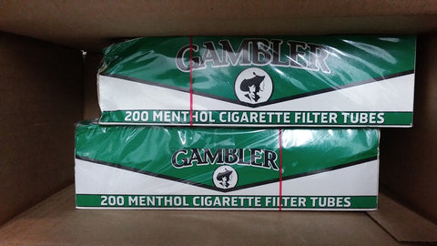 2x Boxes ( Gambler Tube Cut Menthol ) Filter Cigarette Tube 200 Tubes Per Box