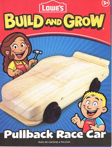 Lowes Build and Grow Pullback Race Car Wood Kit