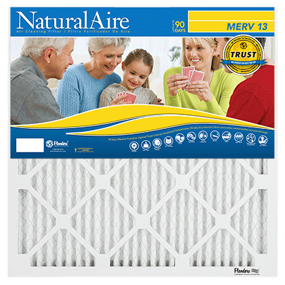 Flanders AAF Pleated Filter Naturalaire Microparticle MERV 13 Filters (12 pack)