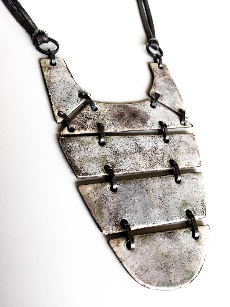 Enamel chest plate necklaces