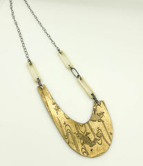 Koi fish etched Bronze plate with cream bone links