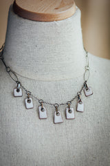 Enamel rectangular drops 7 pieces oxidized Silver