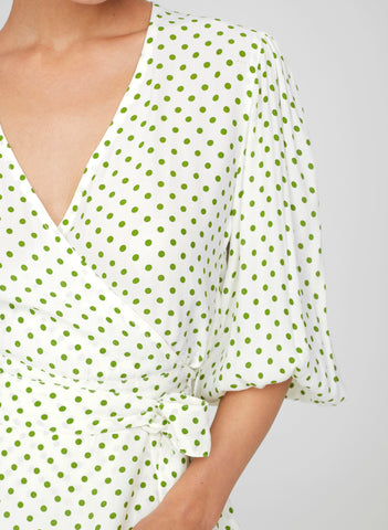 LULA DOT PRINT - GREEN - LAVENDER TOP