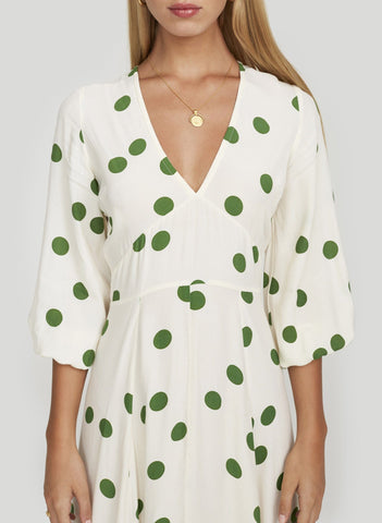 LOLITA DOT PRINT - GREEN - MARINE MIDI DRESS