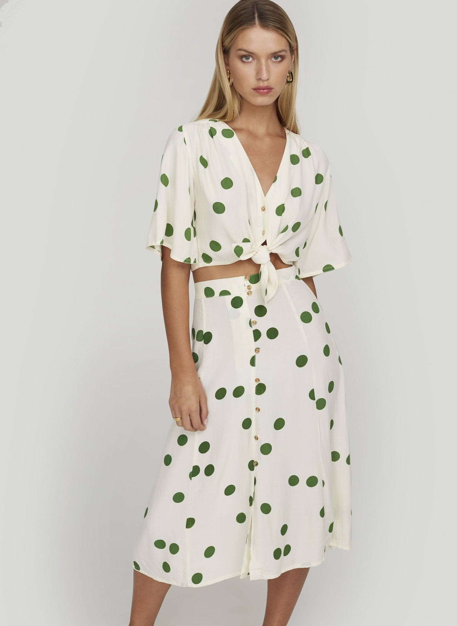 LOLITA DOT PRINT - GREEN - BOULEVARDS TOP