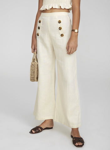 PLAIN CREAM LINEN - ADITA PANTS