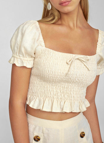 PLAIN CREAM LINEN - MARIE TOP