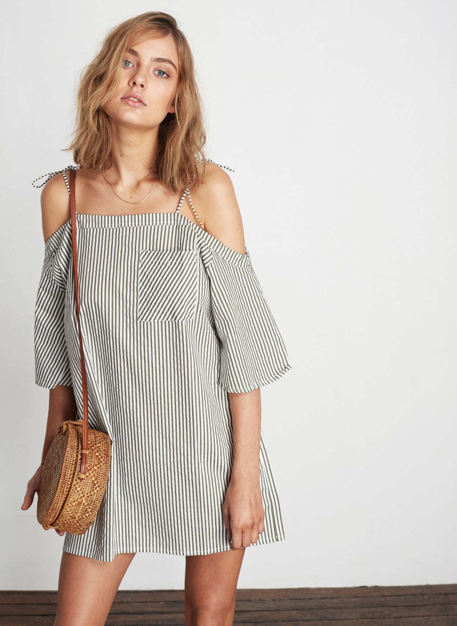 SOHO STRIPE PRINT - KHAKI - KIKI DRESS