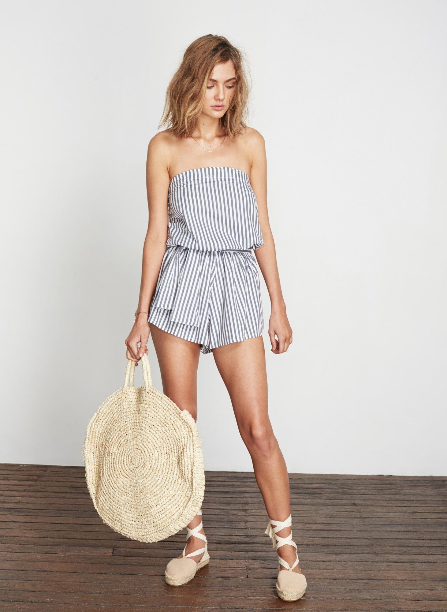 BRIGHTON STRIPE - GREY - DONA PLAYSUIT