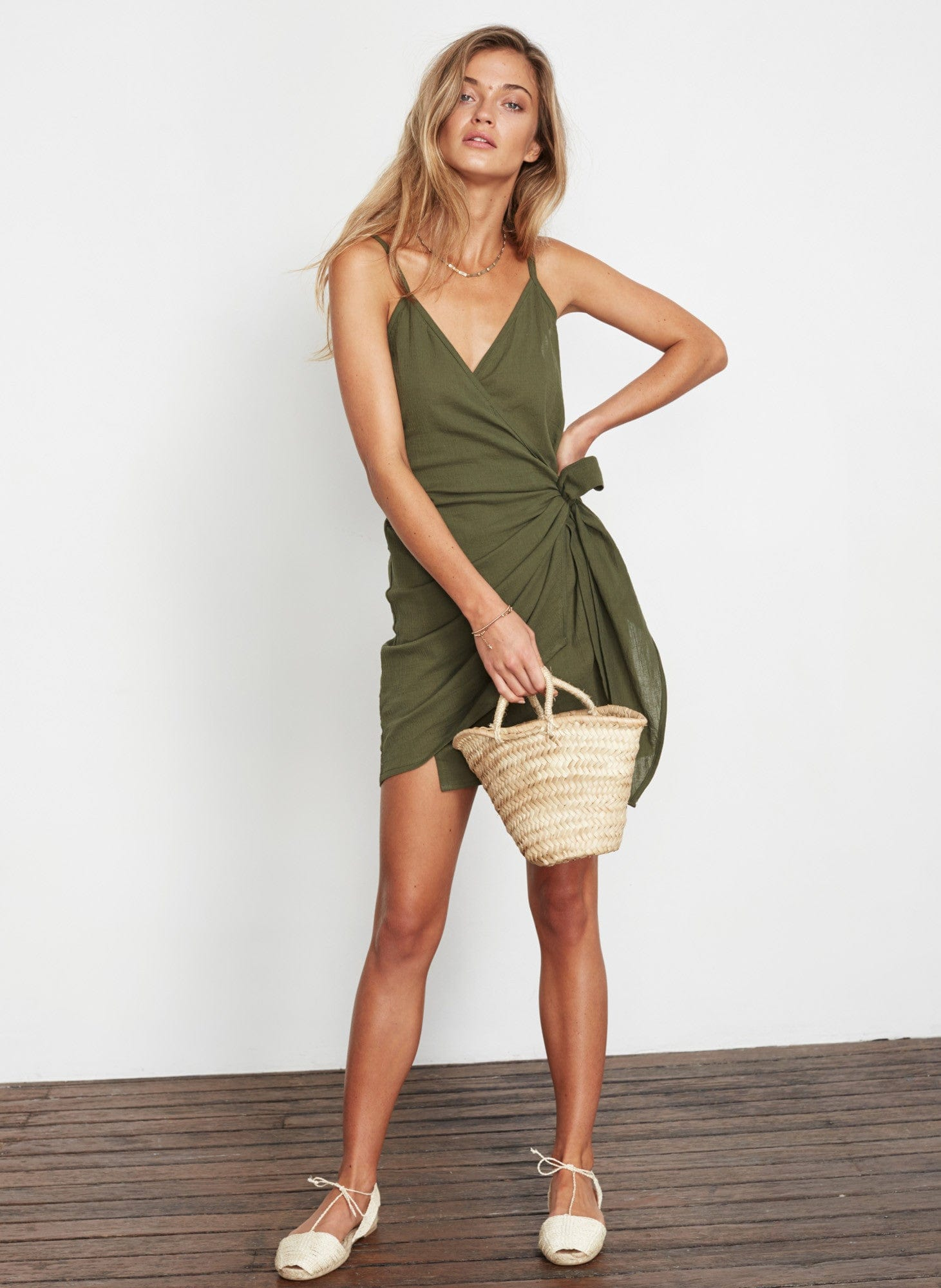 PLAIN KHAKI - KARA WRAP DRESS