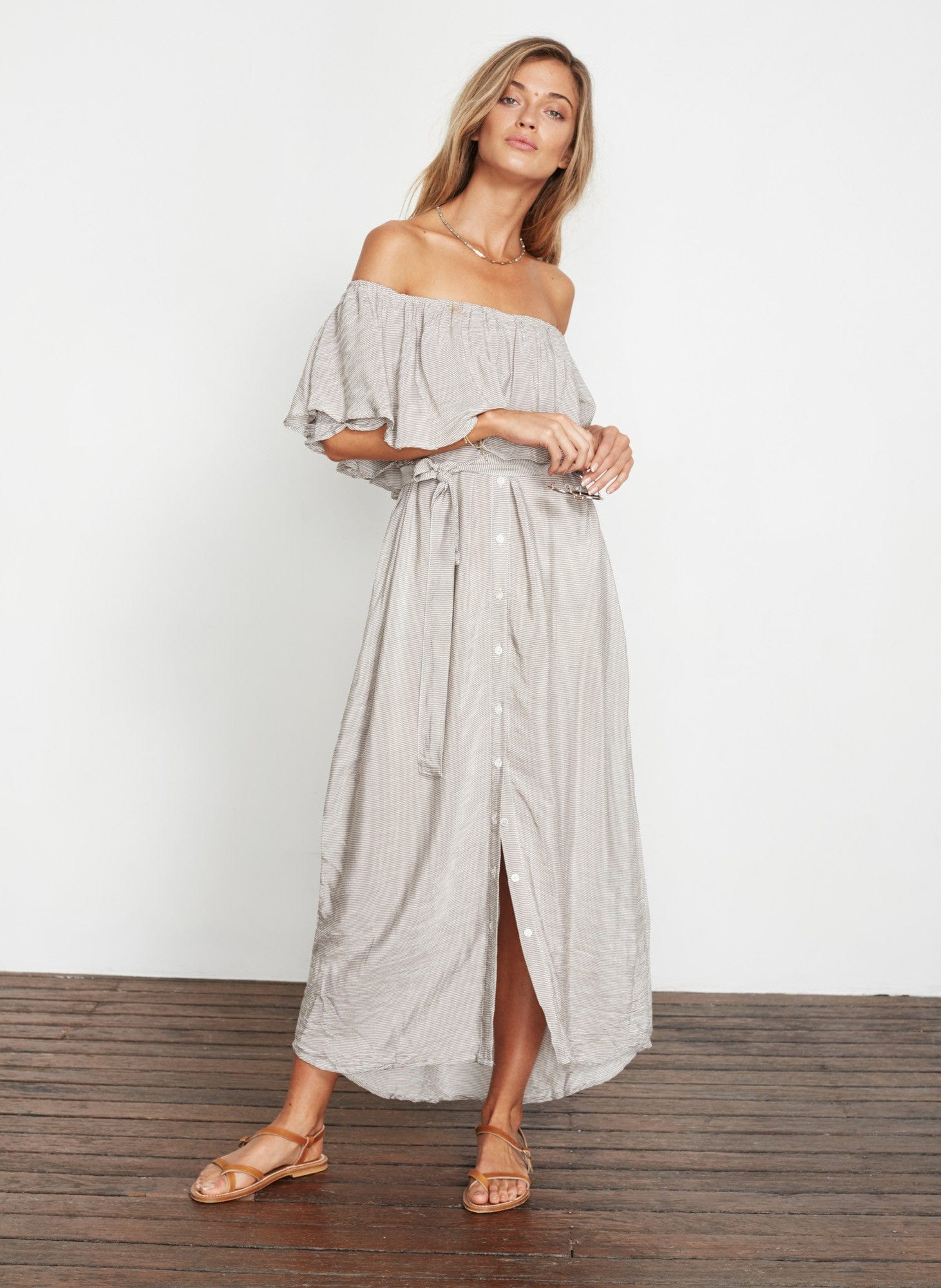 CASCAIS STRIPE PRINT - GREY - MAJORCA MAXI DRESS