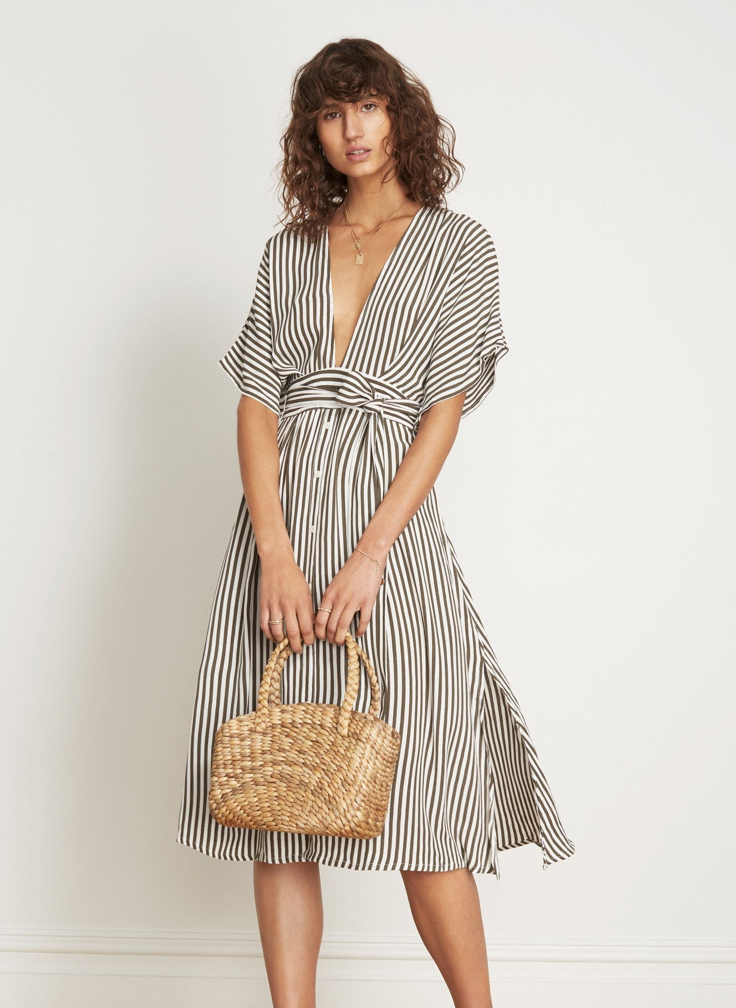 GEORGIA STRIPE PRINT - MUSTANG MIDI DRESS