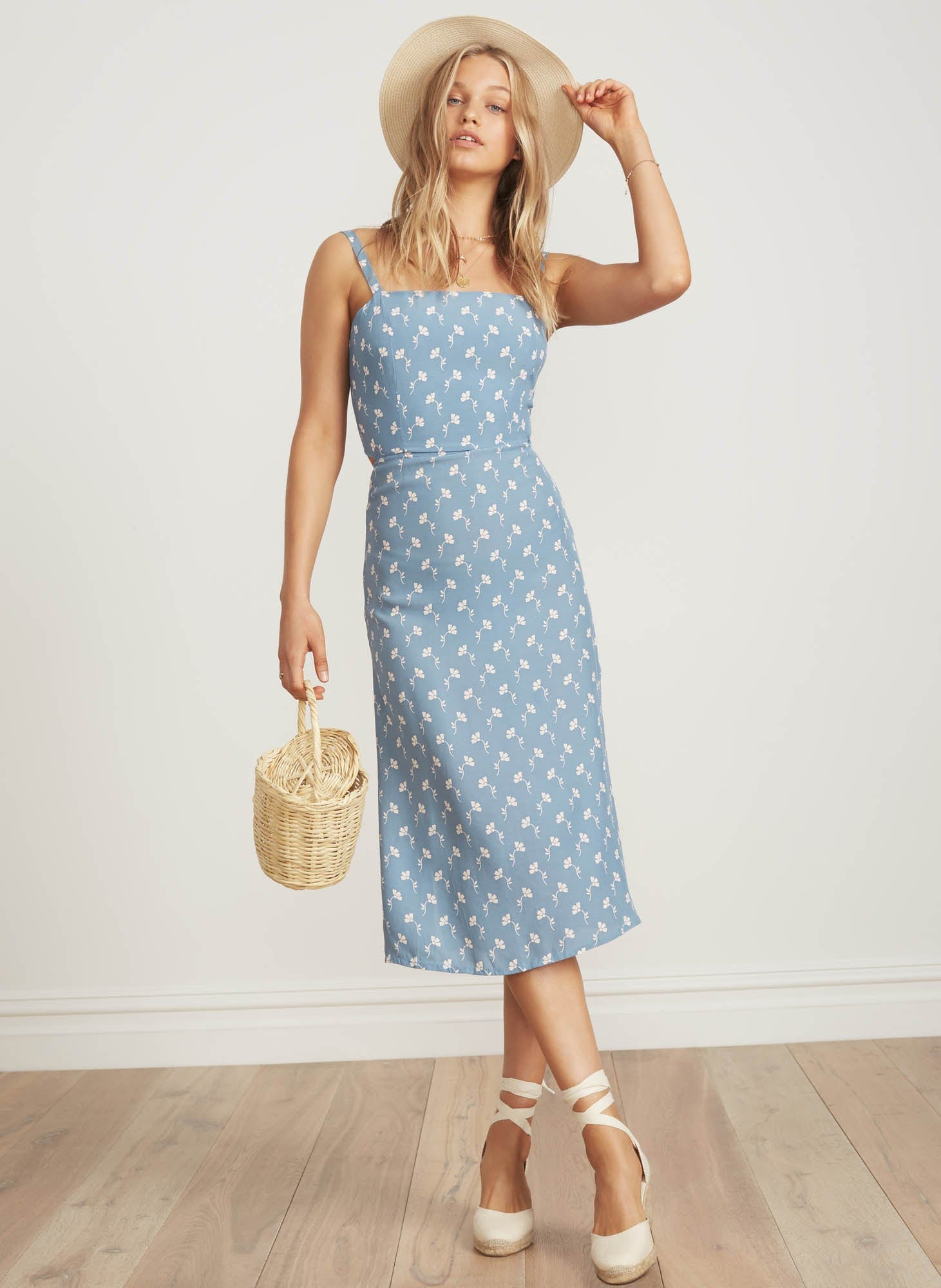 MARCIE FLORAL PRINT - LIGHT BLUE - KATERGO MIDI DRESS