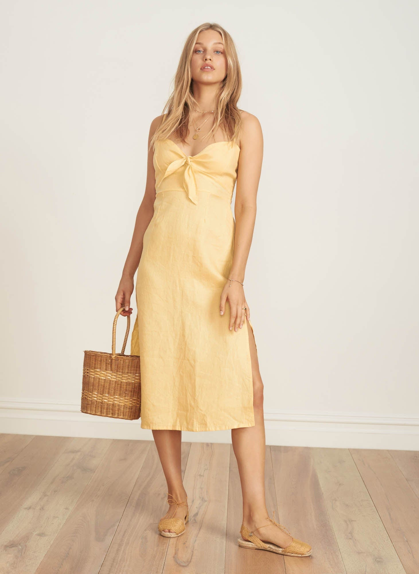 PLAIN PALE YELLOW - FISCARDO MIDI DRESS