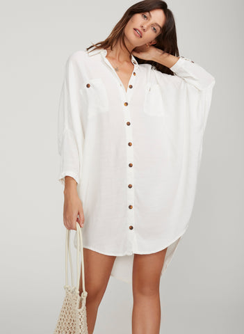 PLAIN OFF-WHITE TEXTURED - SPENCER SHIRT DRESS