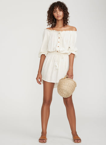 PLAIN OFF-WHITE TEXTURED - ALACATI DRESS