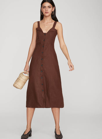 PLAIN ESPRESSO - LA VILLE MIDI DRESS