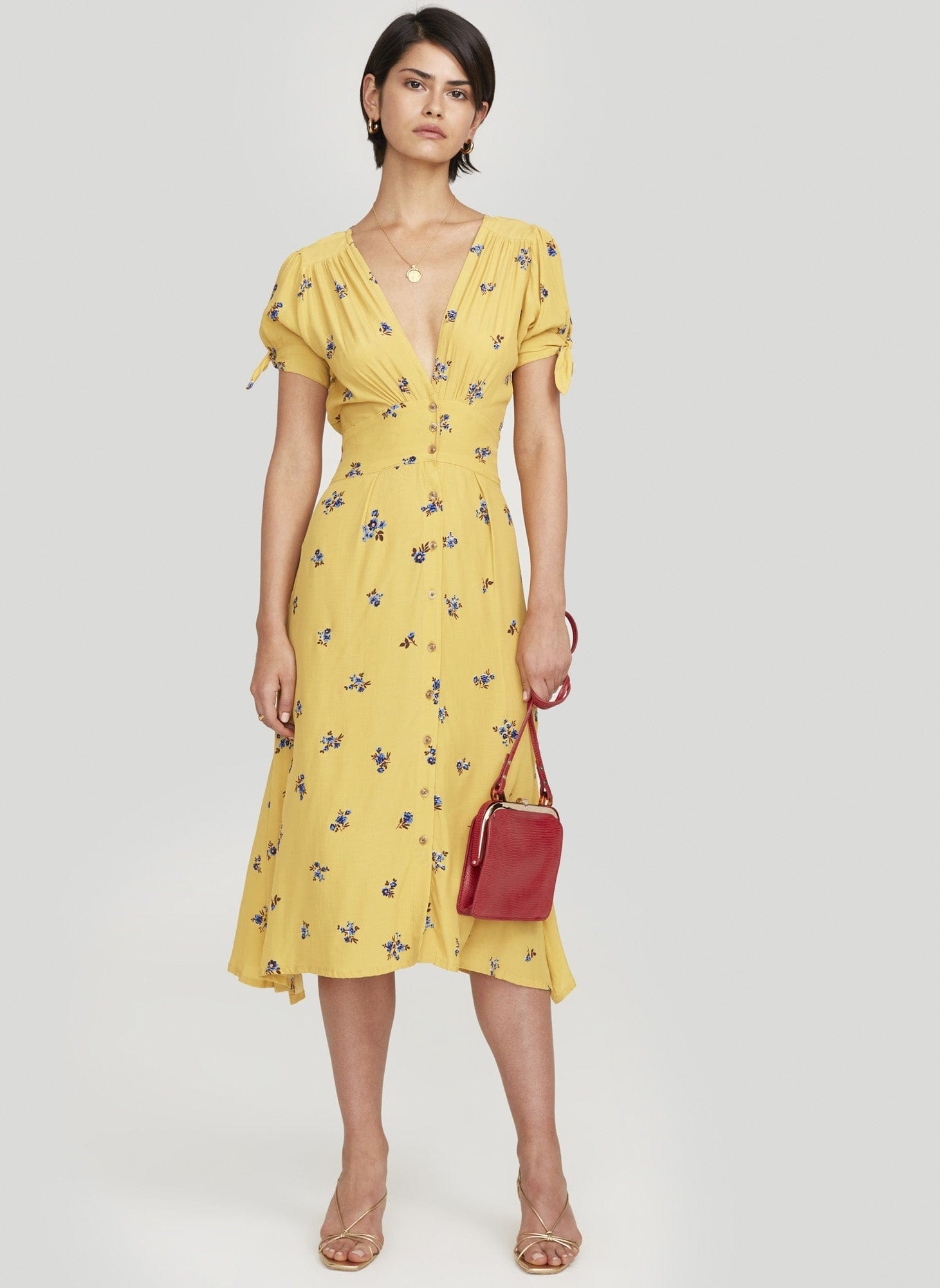 Dolores Floral Print - Yellow - Billie Midi Dress - Final Sale