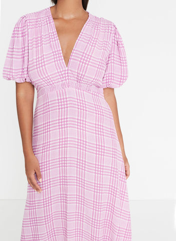 Djerra Check Print - Iris - Vittoria Midi Dress