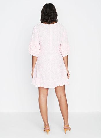 Dusty Floral Print - Pink - Serafina Dress