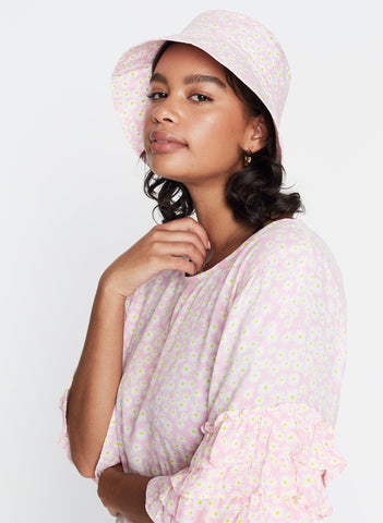 Dusty Floral Print - Pink - Bucket Hat