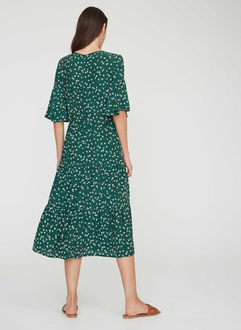 BETINA FLORAL PRINT - GREEN - MELIA MIDI DRESS