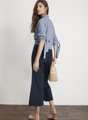 PLAIN NAVY CANVAS - EDIE PANTS - FINAL SALE
