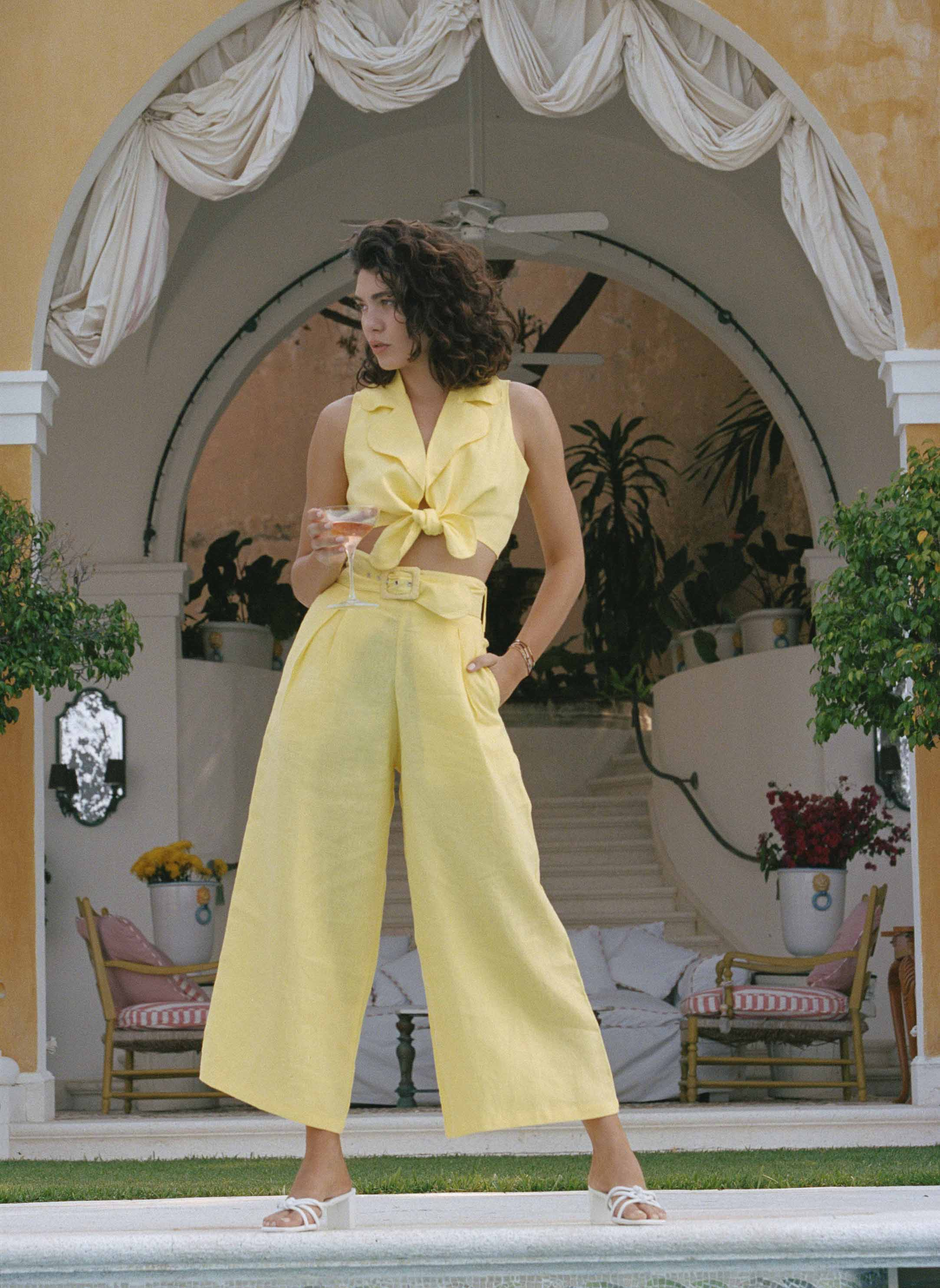 Lena Wide Leg Pants Plain Lemon