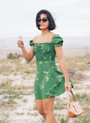 MYRTILLE FLORAL PRINT - GREEN - GENEVIEVE DRESS