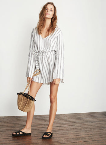 SANDWASH STRIPE PRINT - GREY - LE BRUSC DRESS
