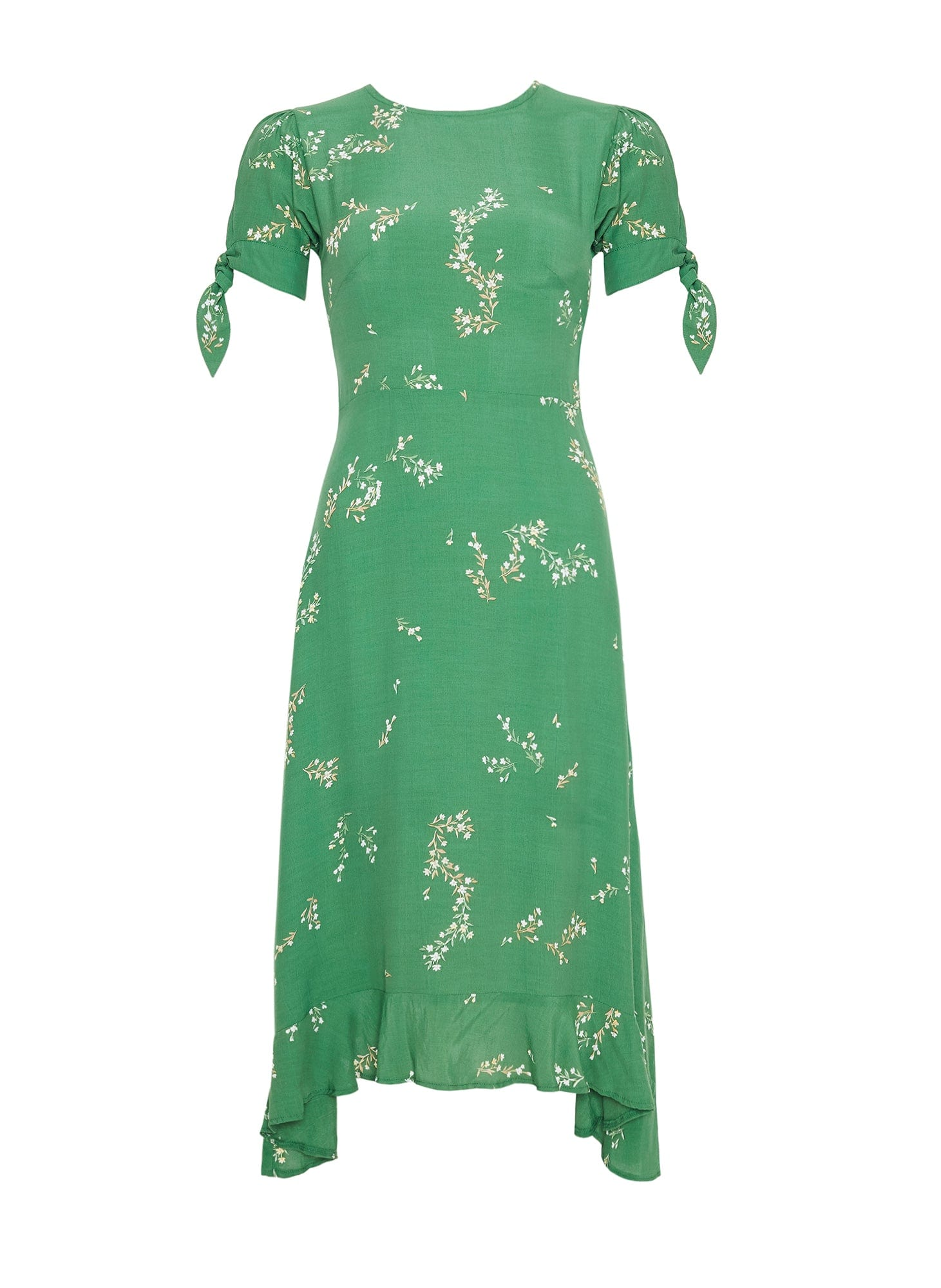 MYRTILLE FLORAL PRINT - GREEN - EMILIA MIDI DRESS