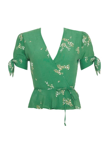 MYRTILLE FLORAL PRINT - GREEN - LUCY WRAP TOP