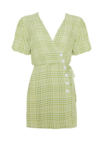 DJERRA CHECK - LIME - BLANCO DRESS