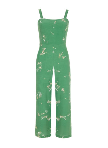 MYRTILLE FLORAL PRINT - GREEN - ELSA JUMPSUIT - FINAL SALE