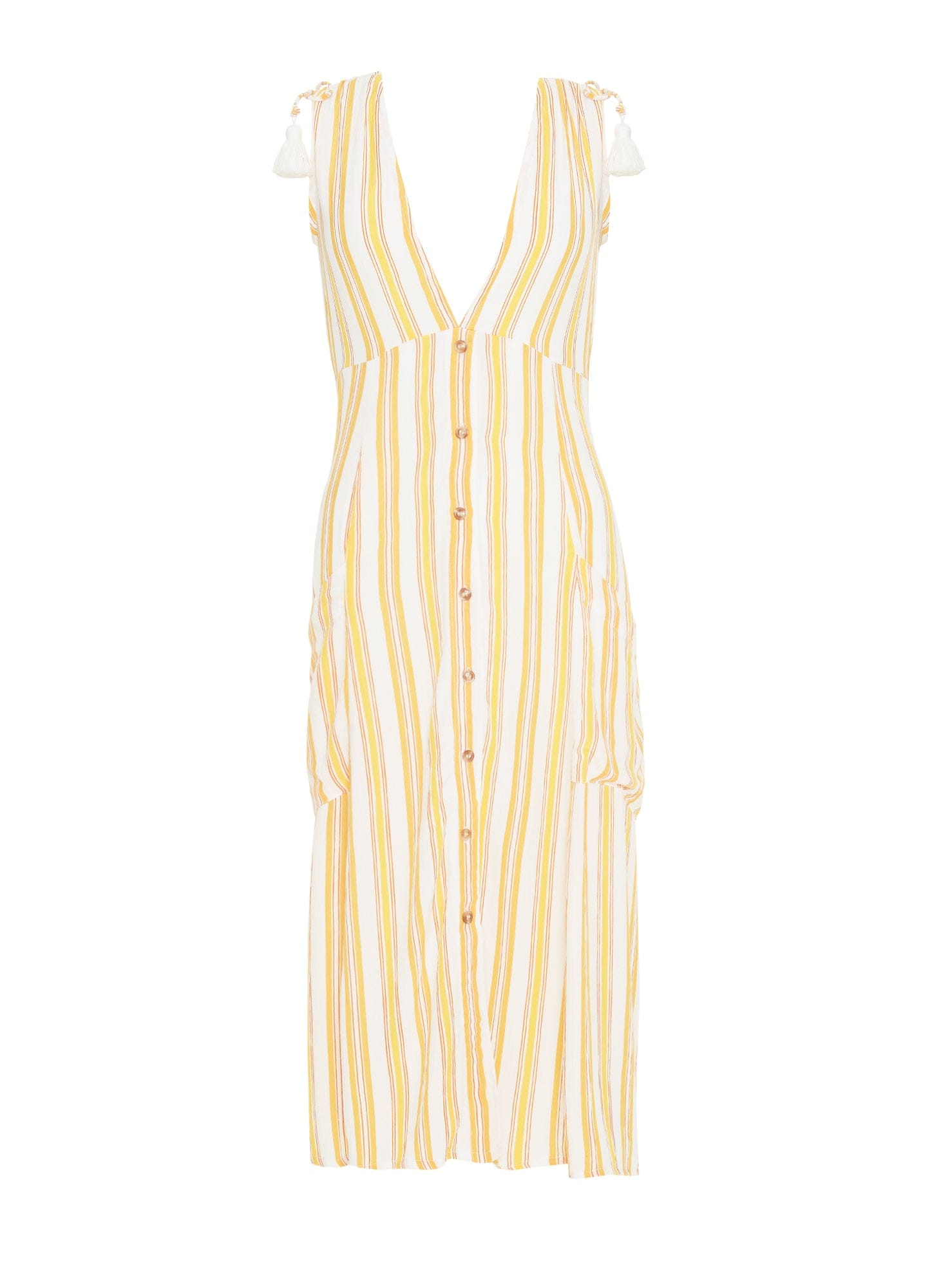 AZURE STRIPE PRINT - SUN - CLAUDIA MIDI DRESS