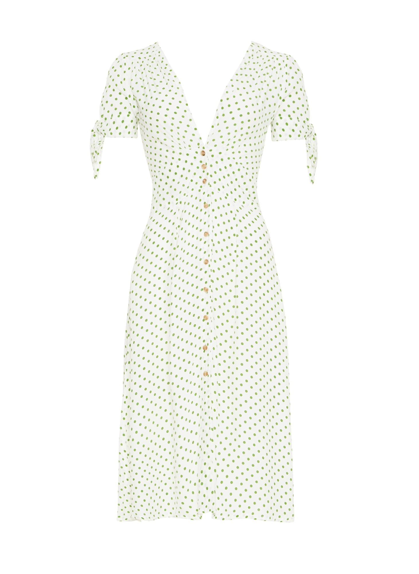 LULA DOT PRINT - GREEN - BILLIE MIDI DRESS