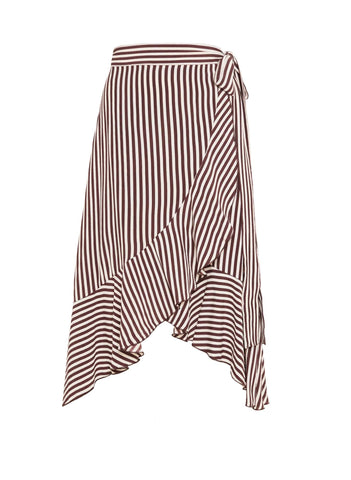 GEORGIA STRIPE ESPRESSO PRINT - TRAMONTI SKIRT - FINAL SALE