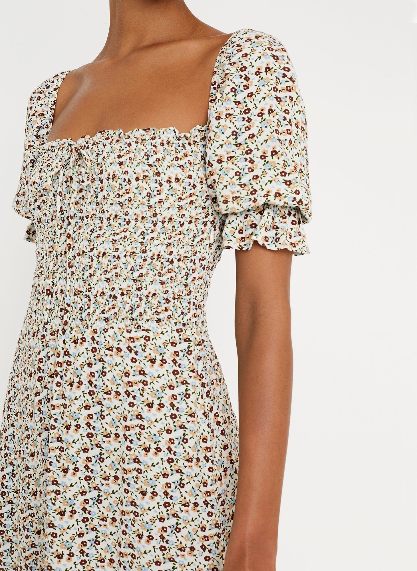 AURELIA FLORAL PRINT - OFF WHITE / CHESTNUT - BELDHI DRESS
