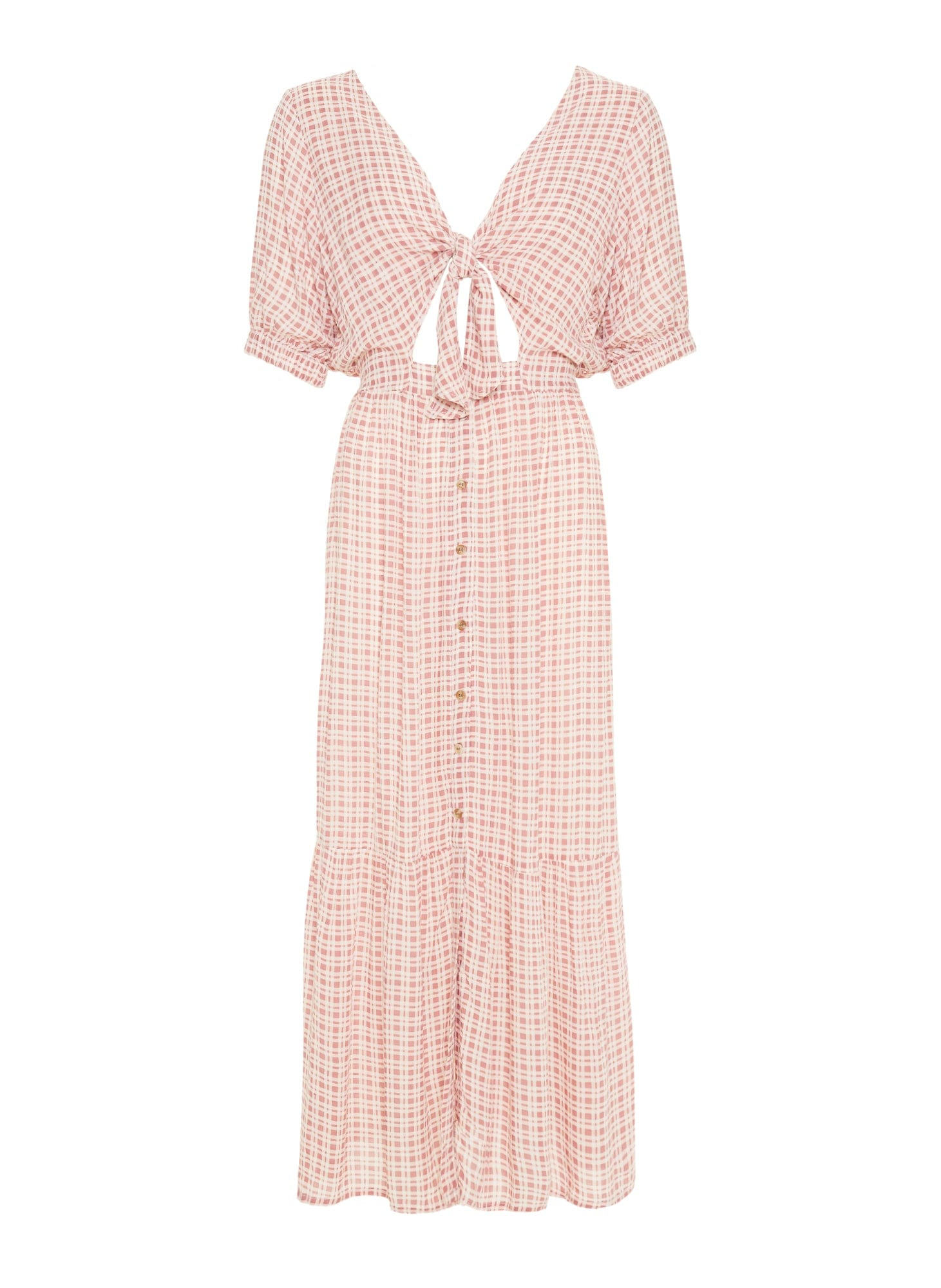 EMILINAH CHECK PRINT - VINTAGE PINK - MAPLE MIDI DRESS