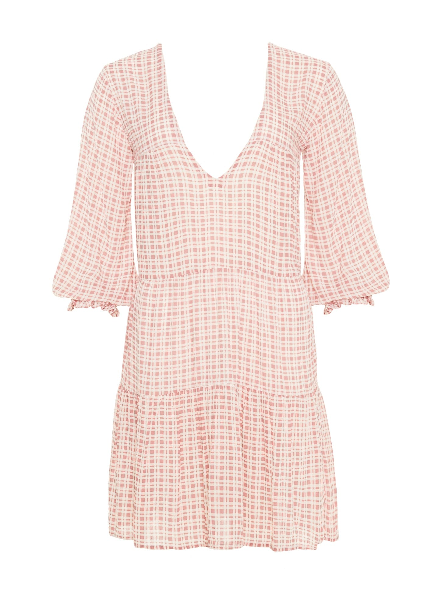 EMILINAH CHECK PRINT - VINTAGE PINK - LE GALLION DRESS
