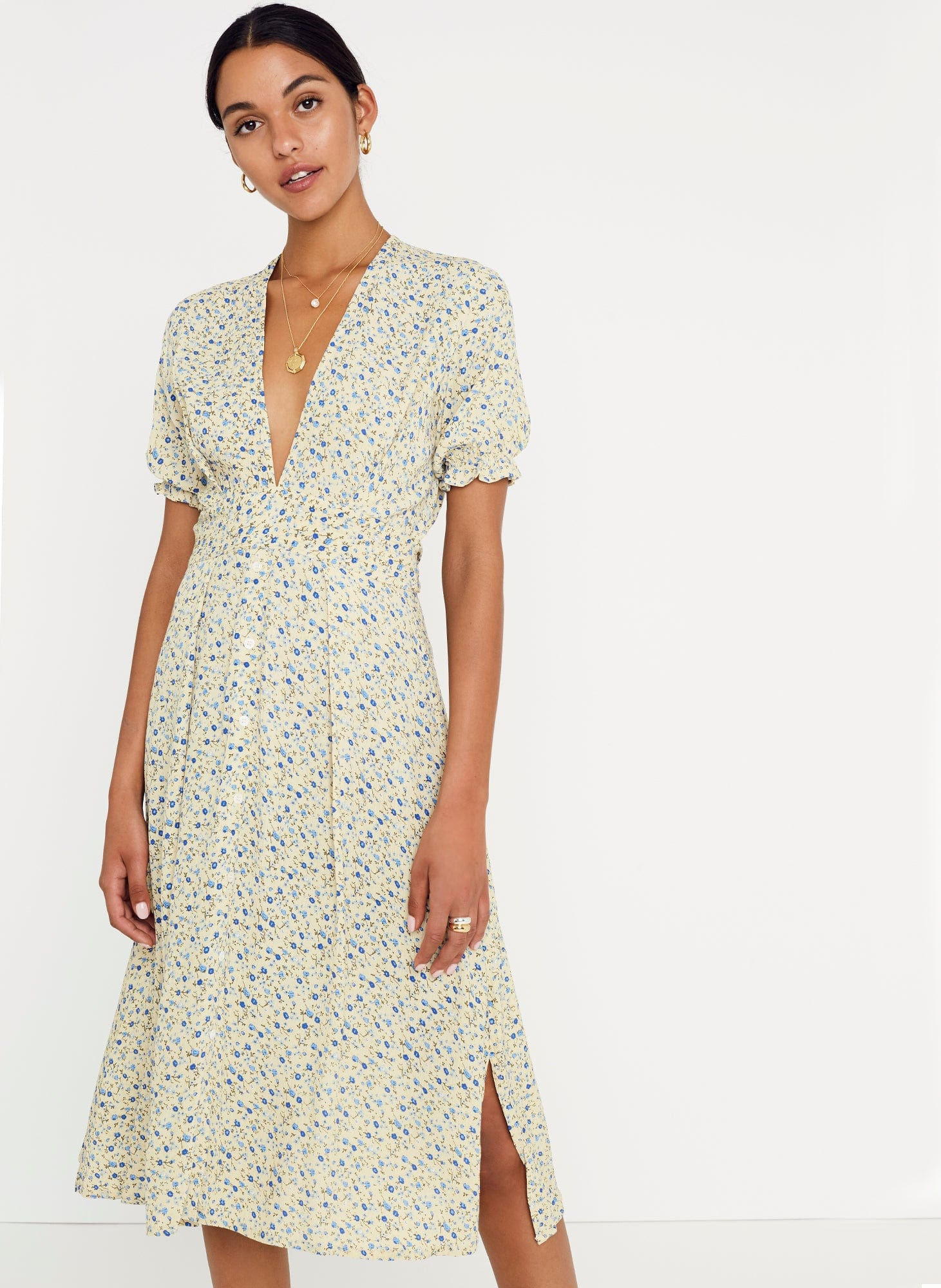Medina Floral Print - Vintage Yellow - Farah Midi Dress