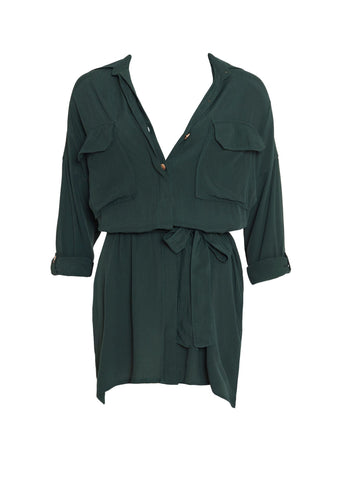 PLAIN PINE GREEN - DEBBIE SHIRT DRESS