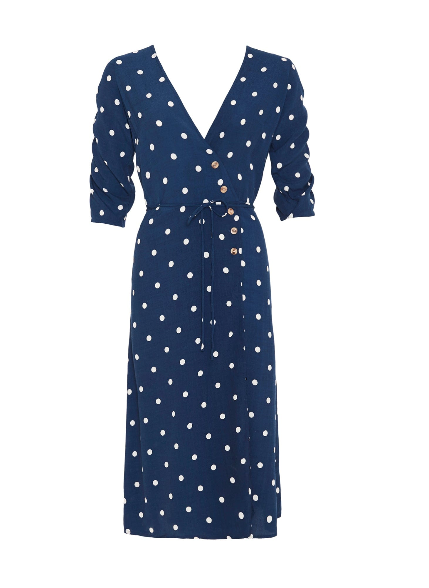 RONJA DOT PRINT - VINTAGE BLUE - ANNE MARIE MIDI DRESS