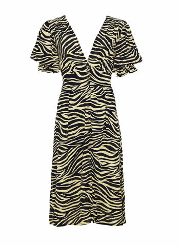 Amaia Zebra Print - Pale Yellow - Rafa Midi Dress